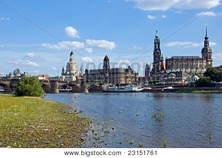 Dresden from the shore of river Elbe