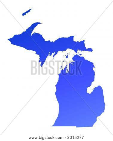 Blue Gradient Michigan Map, Usa