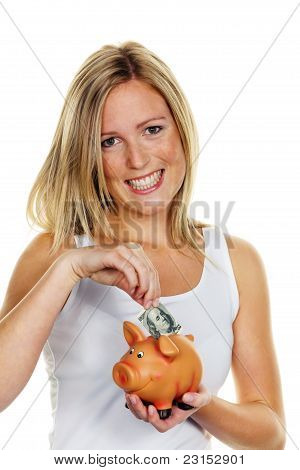 young woman, to save money. Dollar Bill