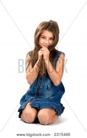Smiling Girl Hiding Face