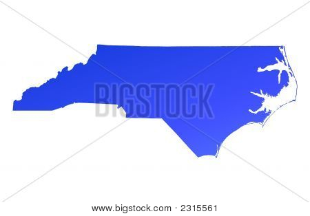 Blue Gradient North Carolina Map, Usa