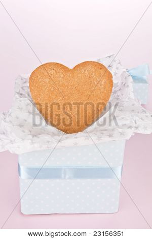 Gingerbread In Luxurious Gift Box With Copyspace.