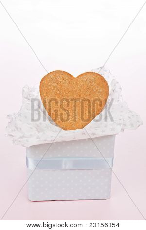 Heart Shaped Gingerbread In Luxurious Gift Box.