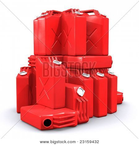 Pile of gasoline canisters isolated on white background