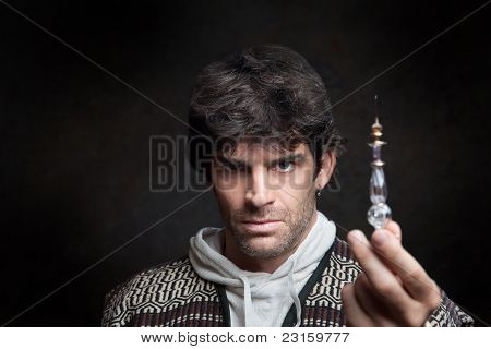 Wizard Holds Potion Bottle