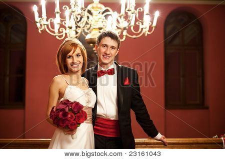 Beautiful couple on their wedding day