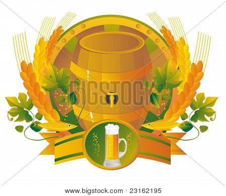 Bier ein Fass mit einem Glas in einer vignette