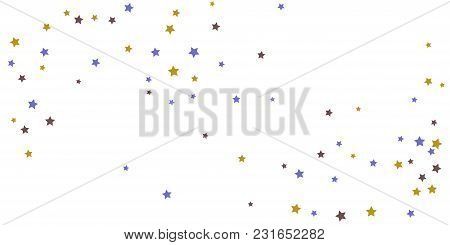 poster of Abstract Flying Confetti Star. A Falling Star Background. Random Stars Shine On A White Background.