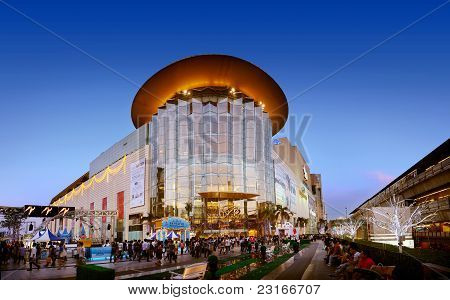 Siam paragon shopping center at night in Bangkok, Thailand