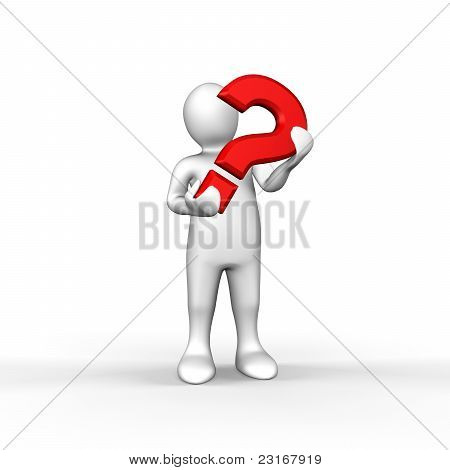 Illustrated White Figure Holding Red Question Mark