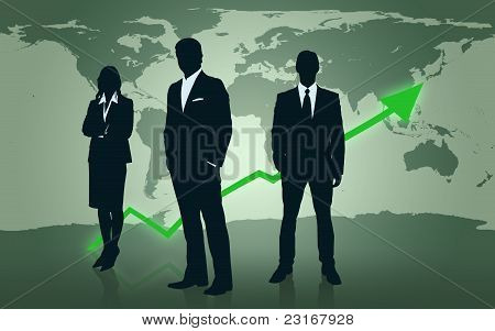 Businesspeople Standing In Front Of World Map