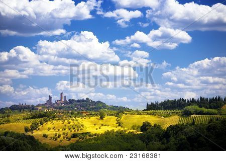 Art View Of The Medieval Tuscan Castle And Olive Groves