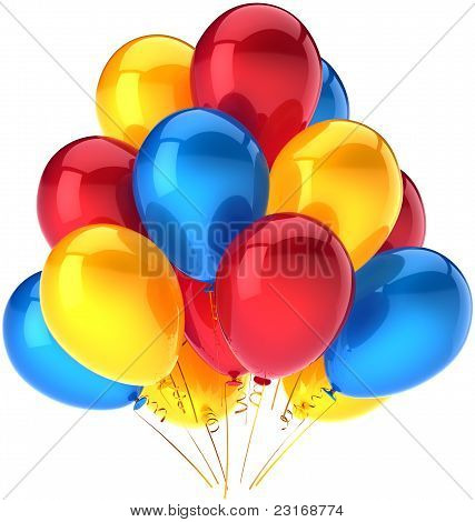 Party balloons happy birthday decoration multicolor red yellow blue