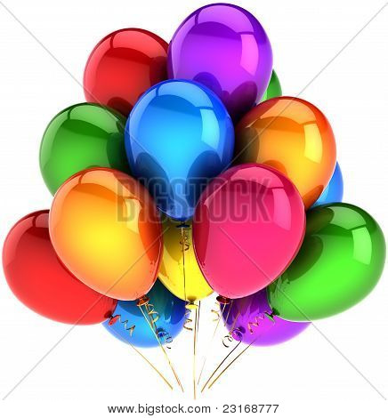 Balloons happy birthday party vacation decoration multicolored