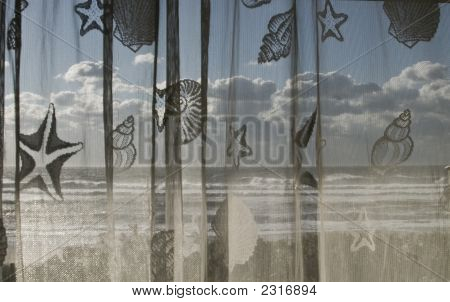 Atlantic Breakers Through Nautical Curtain