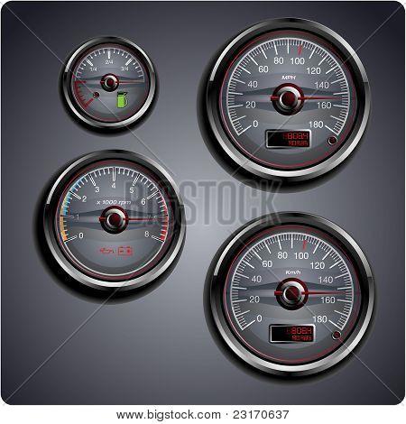 Illustrated car gauges
