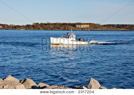 Lobster Boat In Maine Bay