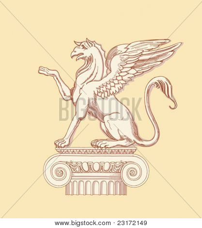 """Griffin, seated on an Ionic column - hand draw sketch based """"The Five Orders of Architecture"""" is a book on architecture by Giacomo Barozzi da Vignola from 1593. Vector illustration."""