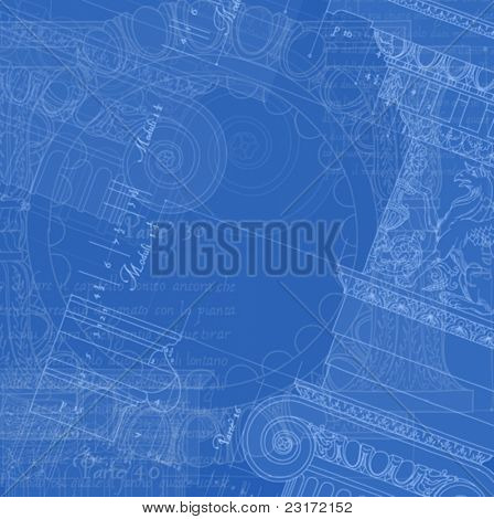 """Architecture Blueprint - Hand draw sketch ionic architectural order based """"The Five Orders of Architecture"""" is a book on architecture by Giacomo Barozzi da Vignola from 1593. Vector illustration."""