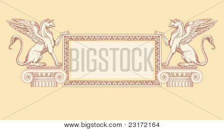 "Vintage frame & Griffins, seated on an Ionic column - hand draw sketch based ""The Five Orders of Architecture"" is a book on architecture by Giacomo Barozzi da Vignola from 1593. Vector illustration."