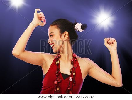 Teenage Girl Enjoying Dancing at a Disco