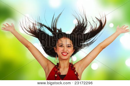Girl With Hands And Hair In The Air