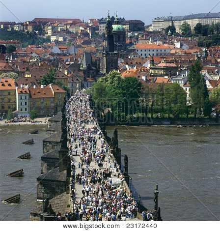 The Charles Bridge Over The Vltava River In Prague