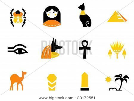 Egypt Icons And Design Elements Isolated On White ( Back And Orange ).
