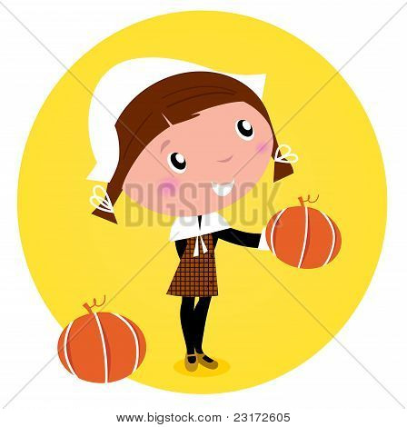 Cute Thanksgiving / Pilgrim Girl With Pumpkin Head - Isolated On White. Vector Cartoon Illustration.