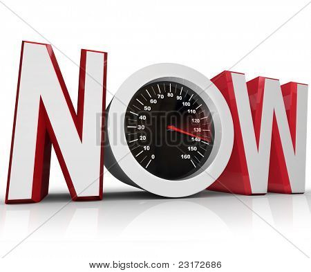 The word Now with a speedometer in the letter O representing an urgency or emergency and important need to beat a deadline