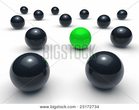 3D Ball Network Green Black