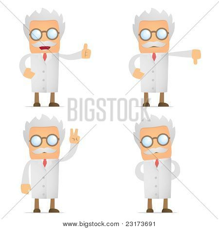 funny cartoon scientist hold thumb up and down