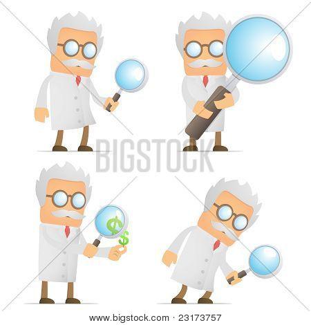 científico de divertidos dibujos animados con lupa