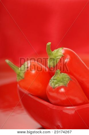 Red Chili Peppers In A Red Bowl