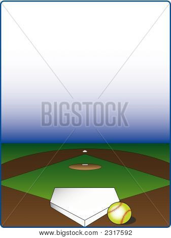 Picture or Photo of View from home plate on a softball field grat for frames and backgrounds.