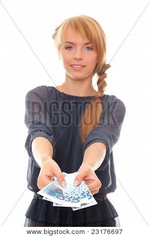 Young Woman Holding In Hand Euro Cash Money