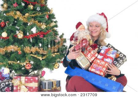 Teenager Holding Xmas Gifts