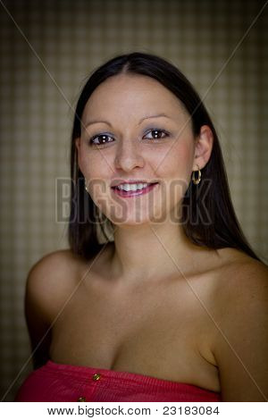 Single Young Female Against Vignetted Background