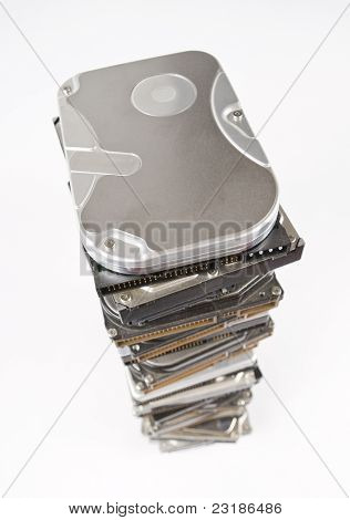 Stack Of Hard Drives With Copy Space On Top