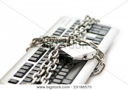 Concept of internet security with padlock and keyboard