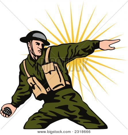 World War Two Soldier Throwing Grenade