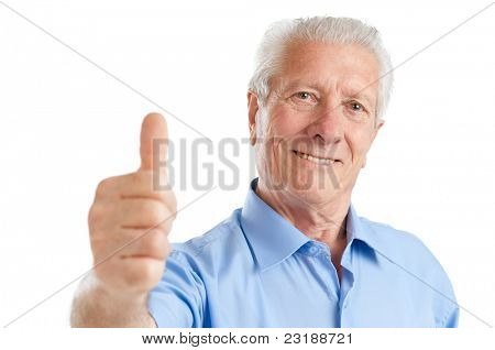 Happy satisfied senior aged man showing thumb up isolated on white background
