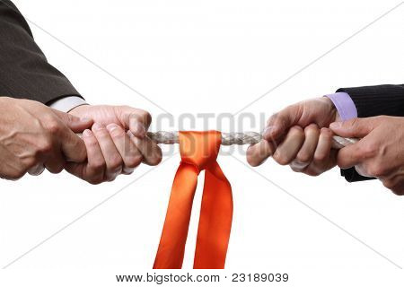 Tug of war concept for business rivalry, dispute or competition