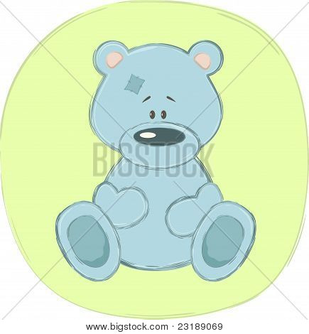 Blue teddy bear (sticker), vector illustration