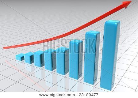 Illustrated bars building s statistic with an arrow above them