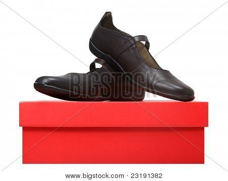 pair of flat leather brown lady shoes on a red box isolated on white background.
