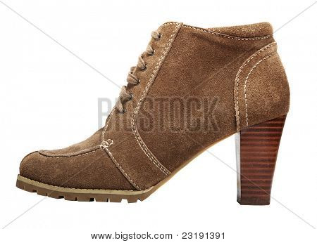 round toe suede ankle boot with high heel in beige brown colour isolated on white