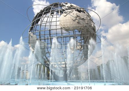 "NEW YORK - AUG 5: The Unisphere in Queens, New York on August 5, 2011.  A theme symbol of the 1964 World's Fair, dedicated to ""Man's Achievements on a Shrinking Globe in an Expanding Universe""."