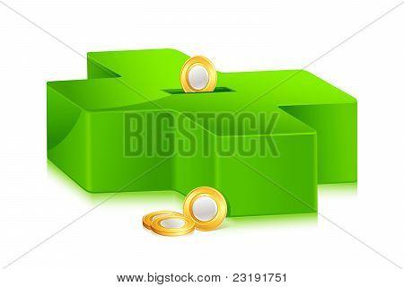 green cross shape piggey bank