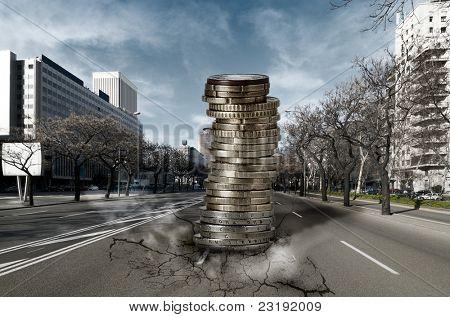 Pila de Euros cayendo en la ciudad: concepto de crisis económica y financiera